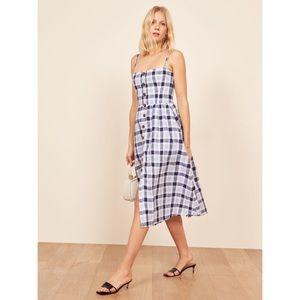 Reformation Tori Plaid Button Linen Midi Dress NWT